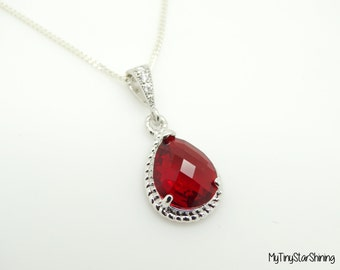 Red Necklace Silver Necklace Bridesmaid Gift Sterling Silver Necklace Wedding Jewelry Bridesmaid Gift