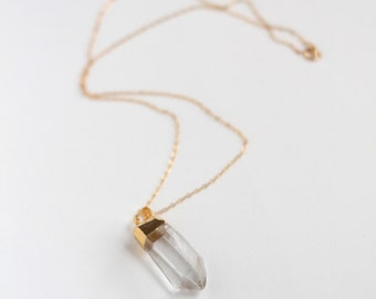 Raw quartz crystal necklace - delicate gold filled chain perfect for layering - clear crystal - modern necklace by fildee jewelry