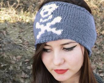 Hand Knit Skull Headband Gray Ear Warmer by EmofoFashion, Women Headband, Hair cover, Skull Ear Warmer, Accessories, Winter Headband, SKULL