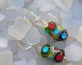 Clearance--Handmade Lampwork Earrings  Bright Summer Colors  359E