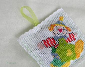 Lavender sachet, cross stitch lavender pillow, colourful happy clown, embroidery sachet