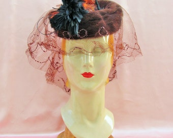 1940's high fashion hat, mink tilt hat with feathers and veil