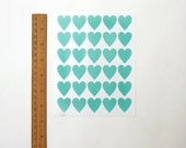 """Heart Stickers, Turquoise/Blue Heart Stickers, Paper Stickers, Size 23x25mm or 1"""" inch Heart Sticker, Set of 5 sheets or 150 hearts"""