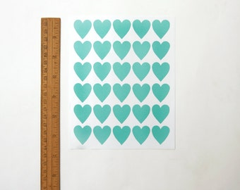 "Heart Stickers, Turquoise/Blue Heart Stickers, Paper Stickers, Size 23x25mm or 1"" inch Heart Sticker, Set of 5 sheets or 150 hearts"