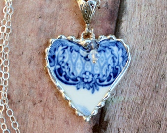 Broken China Jewelry, China Heart Pendant Necklace, Blue and White China, Sterling Silver