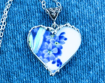 Necklace, Broken China Jewelry, Broken China Necklace, Heart Pendant, Bright Blue Floral China, Sterling Silver, Soldered Jewelry