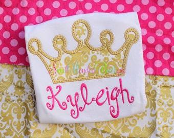 Gold Princess Crown Shirt - Princess Crown Embroidered Shirt - Gold Princess Crown - Girls Crown Shirt - Princess Shirt - Birthday