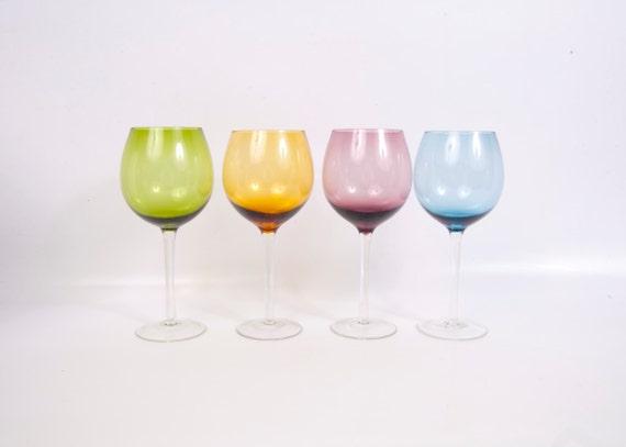 vintage wine glasses colored glass long stem bright color. Black Bedroom Furniture Sets. Home Design Ideas