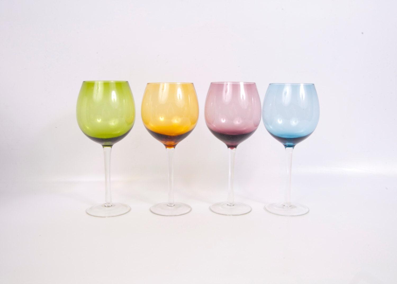Vintage Wine Glasses Colored Glass Long Stem Bright Color