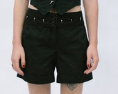 Plus Size Black Cotton Shorts with Silver Metal Spike Details