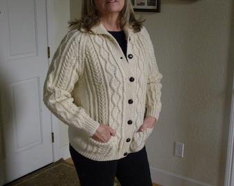 Vintage Ladies Fisherman's Knit in Ecru 7 Button Hand-knit by Blarney Woolen Mills Raglan Sleeves