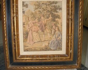 Vintage Framed Renaissance Tapestry, Gold and Black Wood Frame, Middle Ages Art
