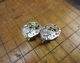 Gruen Watch Movement Cufflinks. Great for Fathers Day, Anniversary, Groomsmen or Just Because.  #395
