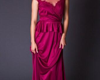 SALE 50% OFF 70s Vintage Lace Top Maxi Dress in Merlot