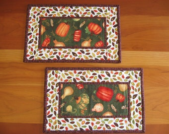 Quilted Mug Rugs, Snack Mats, Candle Mats, Tossed Pumpkins on Green, Set of 2 (#2)