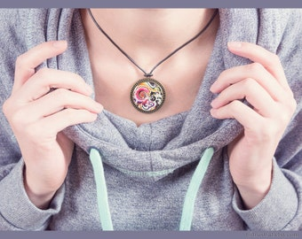 Abstract colorful necklace, big pendant necklace, abstract jewelry, colorful jewelry, fashion, floral jewelry, abstract pendant, multicolor