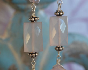 REDUCED**** Palest pink chalcedony and Bali silver earrings
