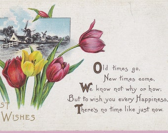 Ca. 1912 Friendship Greetings Postcard w/ Tulips and Dutch Scene - 554
