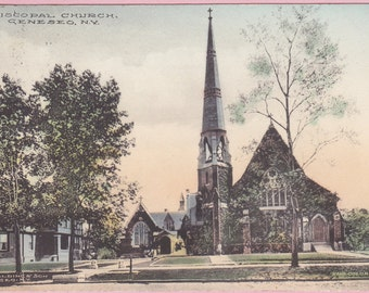"Ca. 1910 ""Episcopal Church"" Geneseo, NY Hand Colored Real Photo Post Card - 1748"