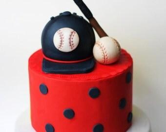 Fondant vintage baseball cake topper set. These baseball fondant toppers are perfect for your baseball party.