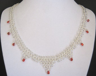Red Queen Chainmaille and Czech Glass Bead Jewelry Set