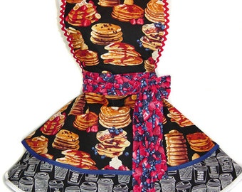 "Ready To Ship ""Pancakes and Fruit"" Pinup/Diner Style Apron -- A  Tie Me Up Aprons 2015 Exclusive Design"