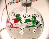 Family Children Kids Snowman Snowmen Personalized Christmas Ornament Custom Grandchildren Grandkids hand painted