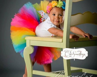 Rainbow Tutu, rainbow birthday tutu, rainbow tutu set, rainbow party, pink rainbow tutu, rainbow tulle tutu, birthday tutu, rainbow shirt UD