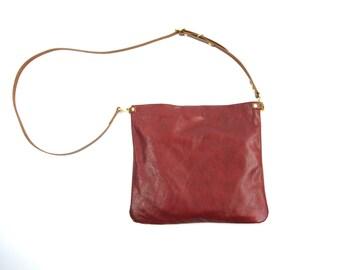 SALE Leather Cross body Bag Purse - FLOTTA - Red Leather adjustable shoulder strap by Holm