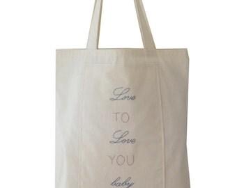 Love tote bag - embroidery bag