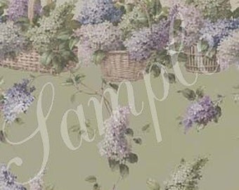 "Dollhouse Wallpaper, ""Raining Lilacs"", Scale One Inch"