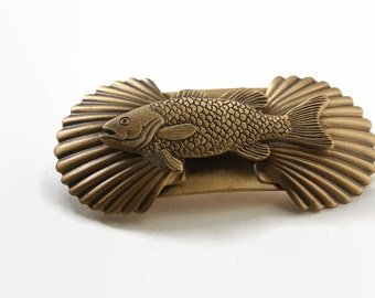 1990's Vintage Hair Clip- Kitsch Silver Forest Fish Hair Accessory