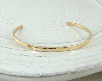 14K Gold Fill Hammered Cuff Bracelet