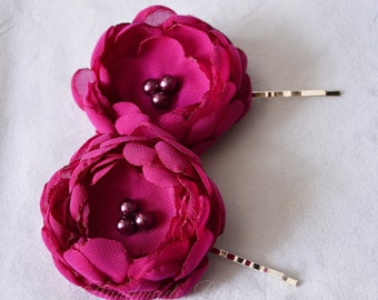 Magenta, Bridal Flower Hair Pins, Purple, Wedding Accessory, Hair Accessories, Flower Hair Piece, Bridesmaid Flower for Hair