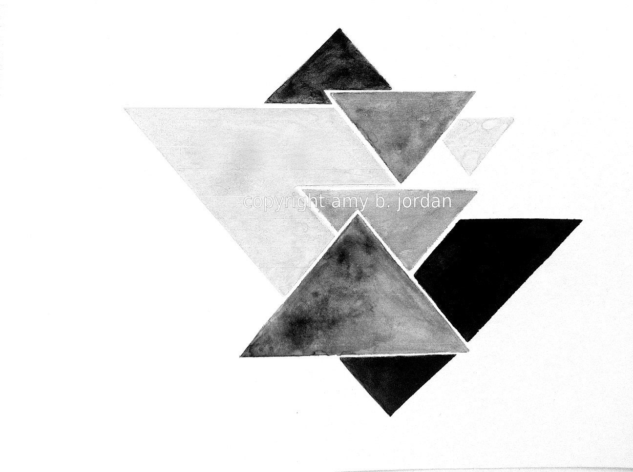 Free Shipping Triangle Geometric Watercolor Painting by ...