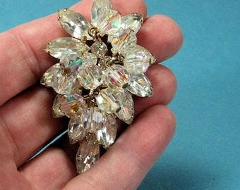 Vintage Juliana Crystal and Rhinestone Brooch Aroura Borealis