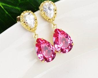 Swarovski Crystal Earrings - Pink Earrings - Crystal Drop Earrings - Teardrop Earrings - Swarovski Earrings - Bridesmaids Jewelry