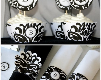 DIY, Damask Black and white, Party Printables -Complete Set - Editable w. initial - INSTANT DOWNLOAD pdf