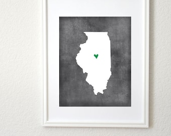 Illinois Chalkboard State Map Customizable Personalized Map Art 8x10 Print
