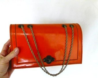 Mod Purse,  Faux Leather/Patent Leather Pocketbook,  Spilene 1960s Orange Bag,  Retro Purse,  Women's Accessories