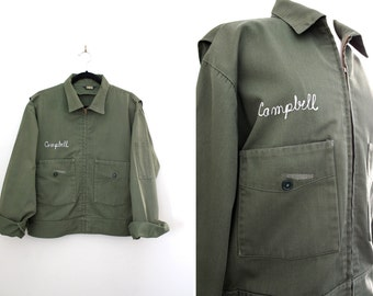Vintage Pilot Bomber Jacket Army Green Members Only Style Ladies Jacket - Zip Up Cropped Jacket - Size Large
