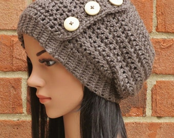 Crochet Slouchy Beanie Button Hat Womens // THE HADLEY // Taupe Grey Brown Heather