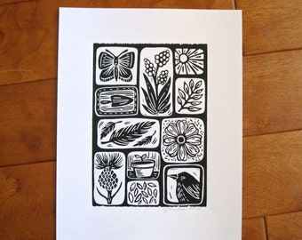 Original Nature Print, hand pulled linocut, open edition, 5x7 inches, black ink