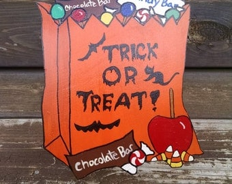 """Halloween Cookie Jar Lid """"Trick or Treat!"""""""