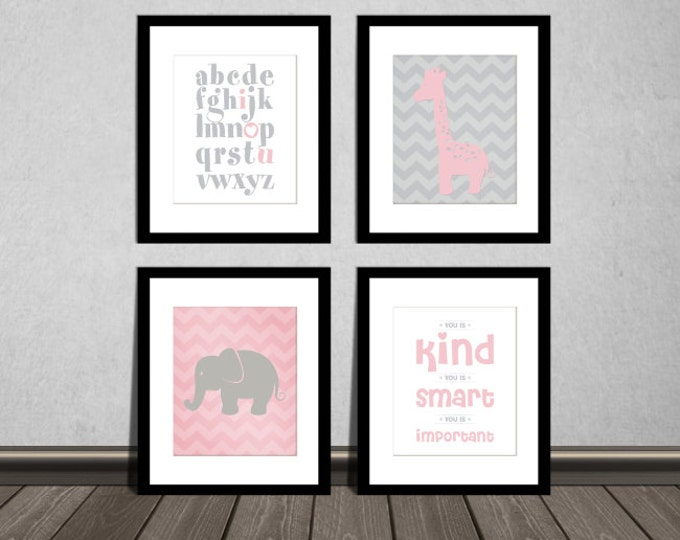 The Help Movie. You is kind, You is smart, You is Important, ABC alphabet, Elephant and Giraffe, Pink Rose and grey, Nursery prints.