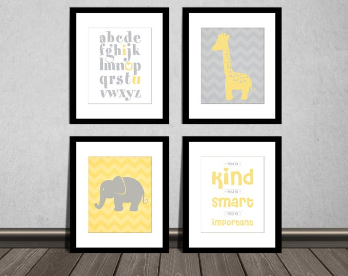 The Help Movie. You is kind, You is smart, You is Important, ABC alphabet, Elephant, Giraffe. Grey Yellow, Downloadable. Print it yourself.