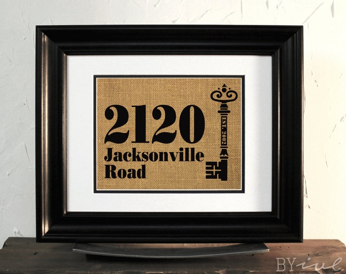 Burlap Sign. House Number Burlap. Address Sign, New home. Vintage key. Custom. Unframed.
