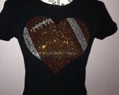 Mega FOOTBALL Heart Rhinestone Shirt or Tank  Bling