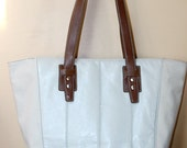 Nine West Large Ivory and Brown Leather Tote Bag Shopper Purse