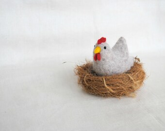 Needle felting miniature hen wool toy felted bird kitchen home decor easter table decoration easter gifts
